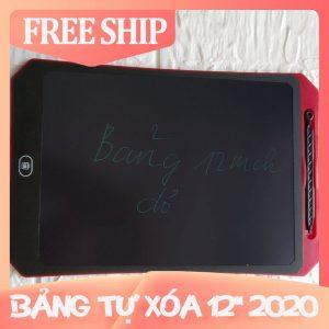 Bảng viết vẽ tự xóa LCD 12 Inch Màu Đỏ 2020 bìa