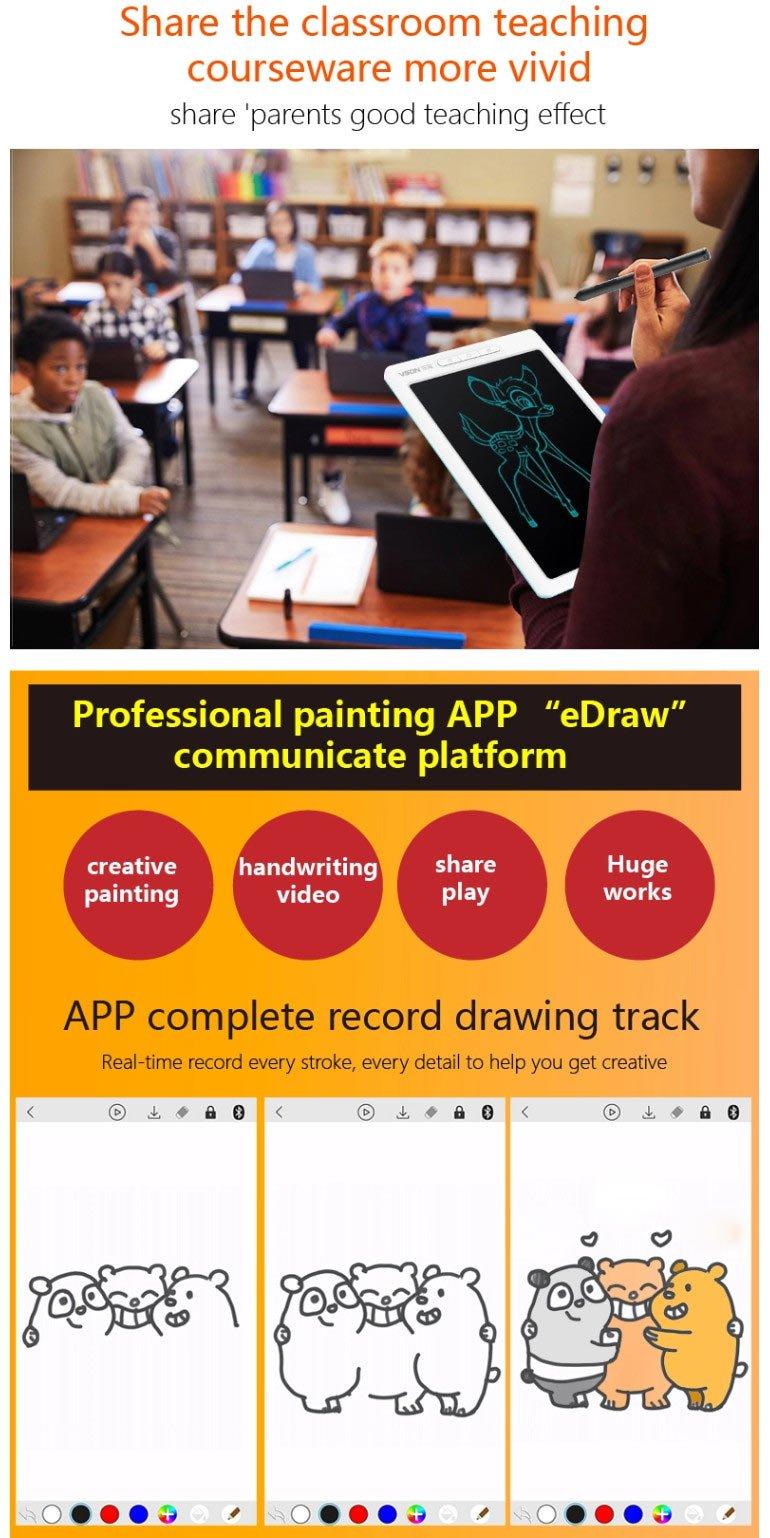 Bảng viết vẽ ghi chú điện tử thông minh tự xóa tích hợp bút cảm ứng, pin sạc và Bluetooth TechPro Vson WP9612 2
