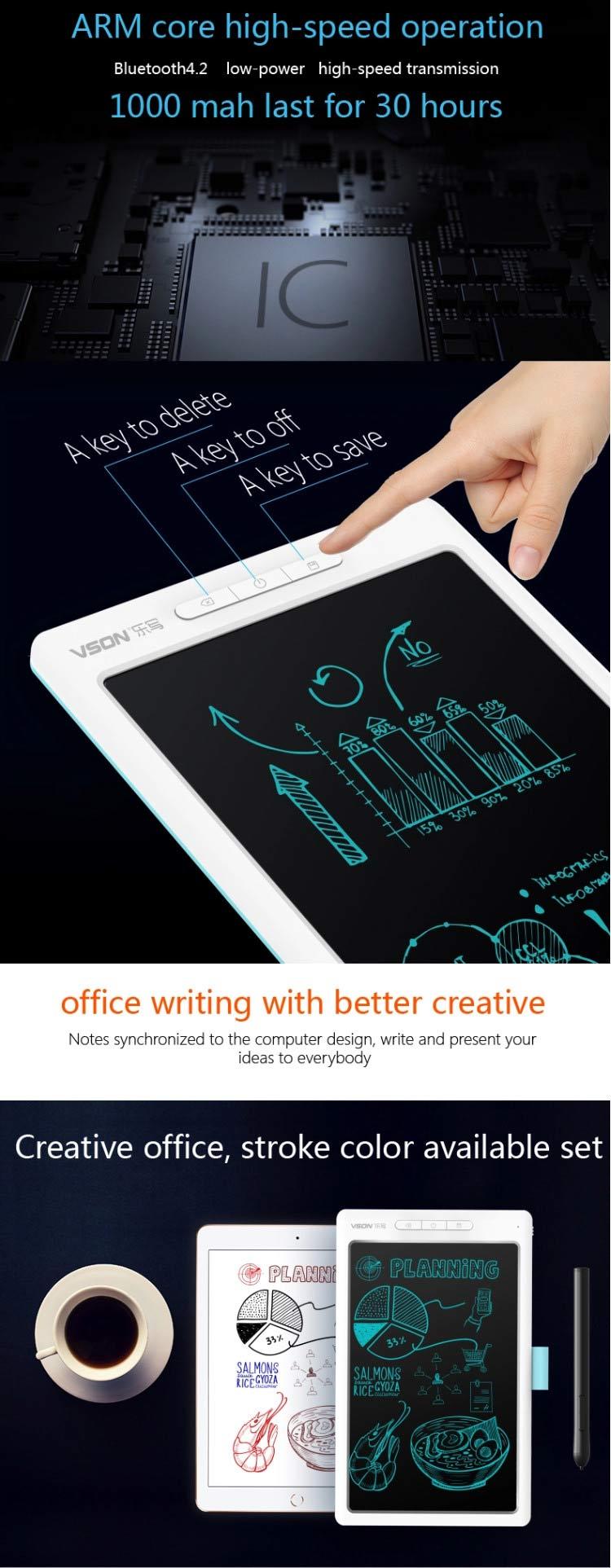 Bảng viết vẽ ghi chú điện tử thông minh tự xóa tích hợp bút cảm ứng, pin sạc và Bluetooth TechPro Vson WP9612 4