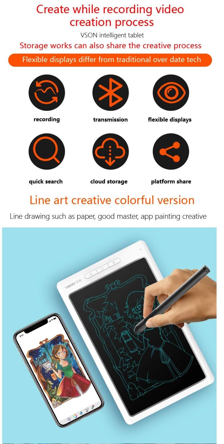 Bảng viết vẽ ghi chú điện tử thông minh tự xóa tích hợp bút cảm ứng, pin sạc và Bluetooth TechPro Vson WP9612 6
