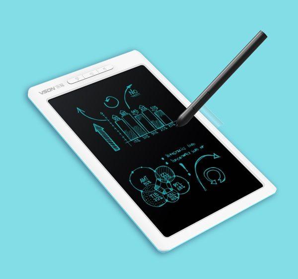 Bảng viết vẽ ghi chú điện tử thông minh tự xóa tích hợp bút cảm ứng, pin sạc và Bluetooth TechPro Vson WP9612 trắng 1