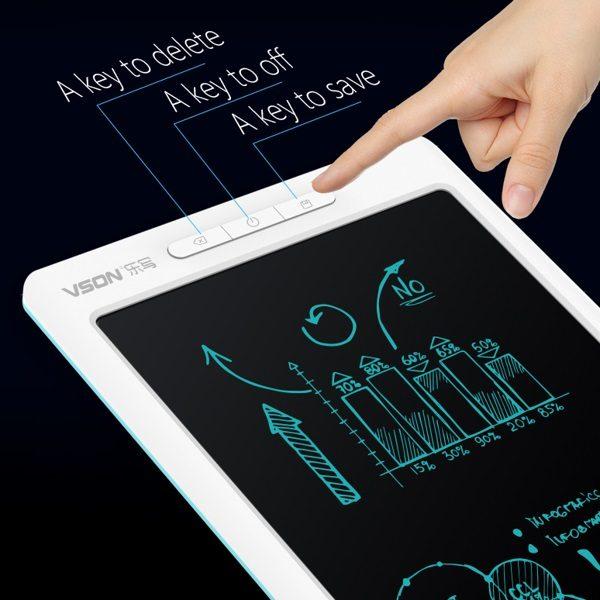 Bảng viết vẽ ghi chú điện tử thông minh tự xóa tích hợp bút cảm ứng, pin sạc và Bluetooth TechPro Vson WP9612 trắng 2