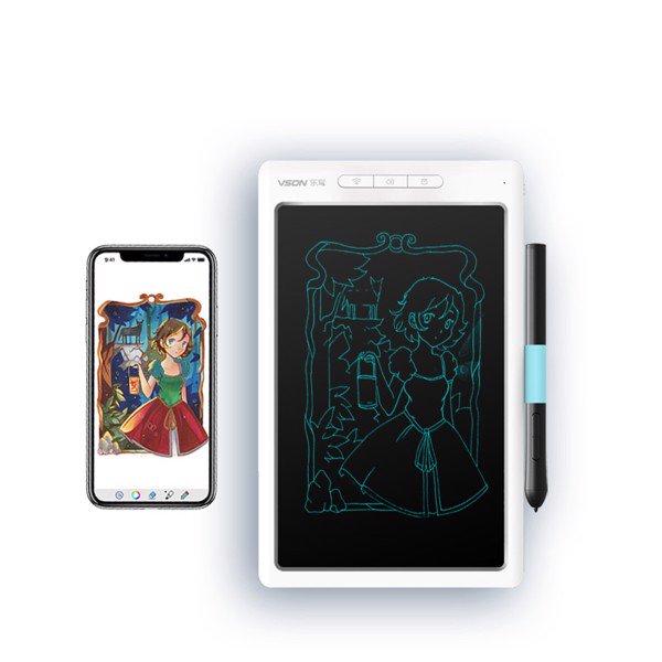 Bảng viết vẽ ghi chú điện tử thông minh tự xóa tích hợp bút cảm ứng, pin sạc và Bluetooth TechPro Vson WP9612 trắng bìa