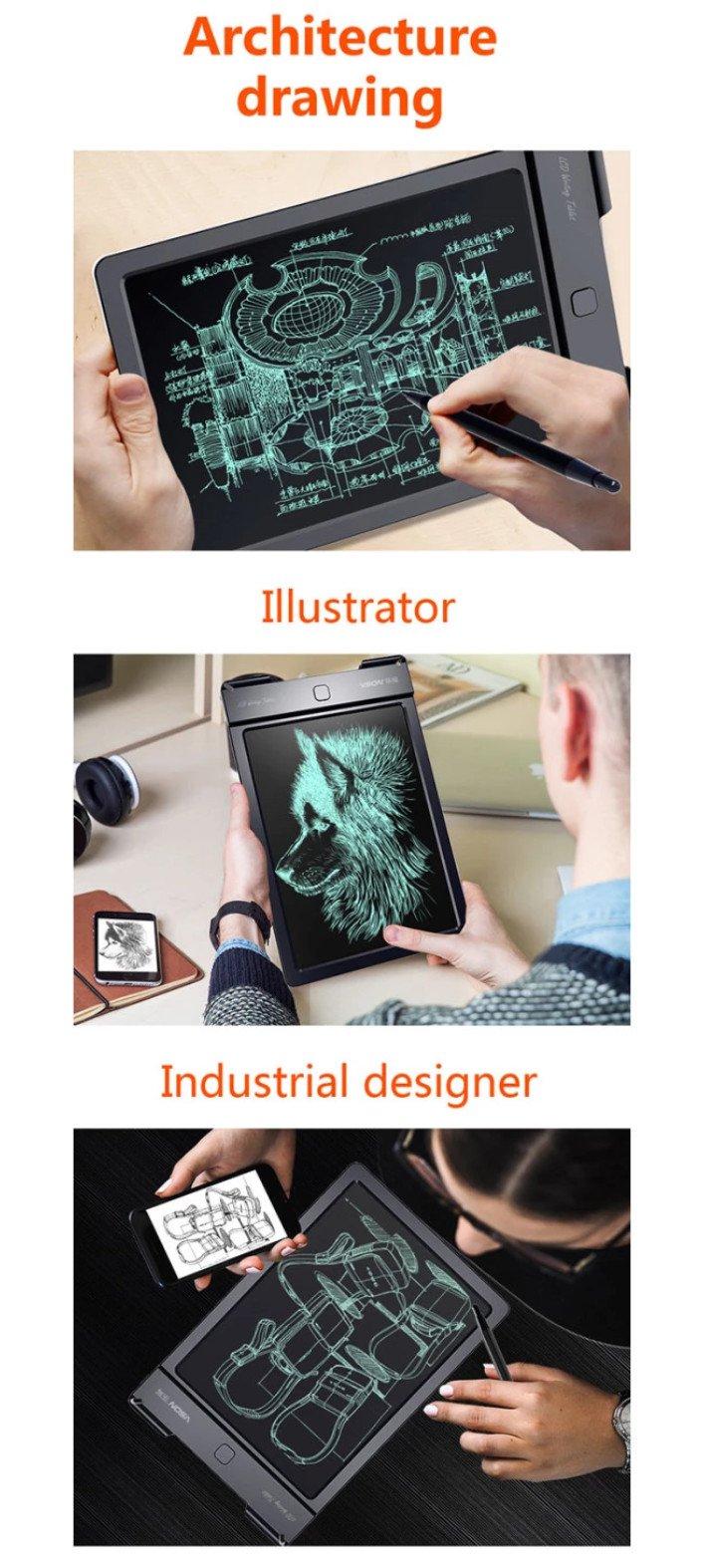Bảng viết vẽ điện tử tự xóa và lưu dữ liệu vào thiết bị Android, iPhone, iPad TechPro Vson 13 (Đen) 13inch 6