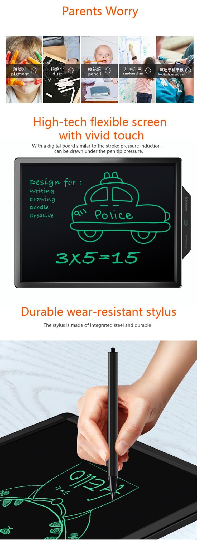 Bảng viết vẽ ghi chú tự xóa thông minh màn hình khủng TechPro Vson 20 inch 6