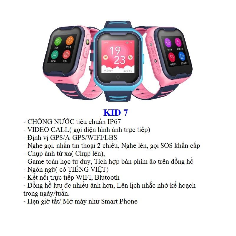 Đồng Hồ Định Vị Trẻ Em GPS, Chống Nước IP67, Hỗ Trợ Camera, Gọi Video Call 4G Kidpro7 tính năng