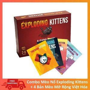 Bài Mèo Nổ Exploding Kittens + 4 Bản Mở Rộng Việt Hóa bìa
