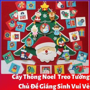 Cây thông Noel Giáng Sinh vui vẻ treo tường bìa